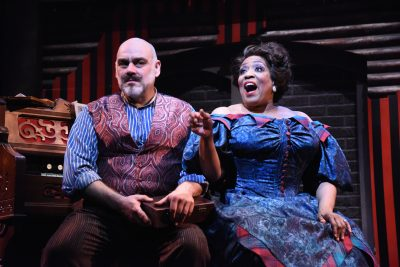 David Benoit as Sweeney Todd and E. Faye Butler as Mrs. Lovett.