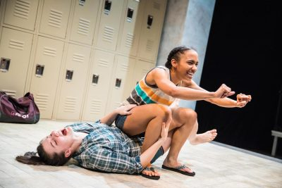 "From left, Emily Whitworth (Amy) and Yakima Rich (Ester) in ""Dry Land."""