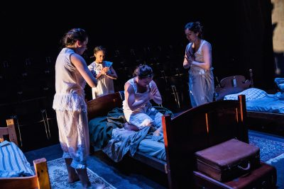 "From left, Emily Whitworth (Theresa), Yakima Rich (Lucy), Lida Maria Benson (Joan), and Thais Menendez (Anne) in ""What Every Girl Should Know."""