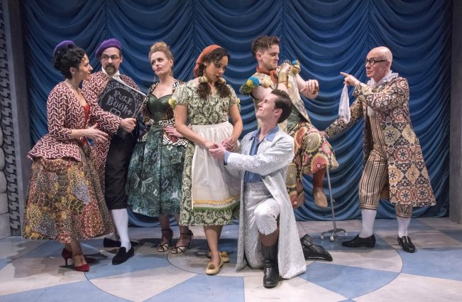 """Fickle's"" ensemble cast: From left, Alyssa Wilmoth Keegan, Marcus Kyd, Tonya Beckman, Kathryn Tkel, Christopher Dinolfo, Andy Reinhardt and Mark Jaster."