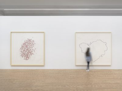 "Left to right: ""Else 10"" (2010) and ""Put 2"" (2012-2013), powdered pigment, graphite, charcoal, colored pencil, and varnish on paper, ©2017 Roni Horn"
