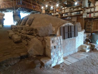 Mary Bowron's 50-foot kiln.