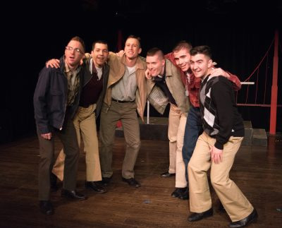 "From left to right, Cam Sammartano (Bernstein), Luis ""Matty"" Montes (Stevens), Garrett Zink (Boland), Eric Jones (Eddie Birdlace), Jordan Clifford (Fector) and Chad Rabago (Gibbs)"