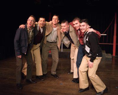 """From left to right, Cam Sammartano (Bernstein), Luis """"Matty"""" Montes (Stevens), Garrett Zink (Boland), Eric Jones (Eddie Birdlace), Jordan Clifford (Fector) and Chad Rabago (Gibbs)"""