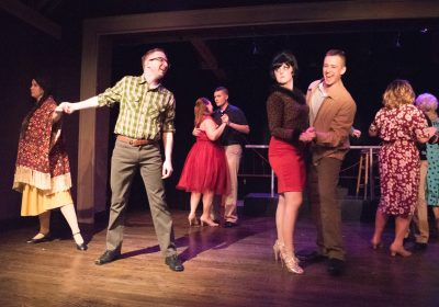 From left to right: Robin Samek (Ruth Two Bears, Cam Sammartano (Bernstein), Megan Evans (Rose), Eric Jones (Eddie Birdlace), Hillary Templeton (Marcy) and Garrett Zink (Boland)