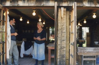 Mary Bowron with her friend Bob Retka, a retired Foreign Service Officer and ceramic enthusiast, on March 29, 1998.