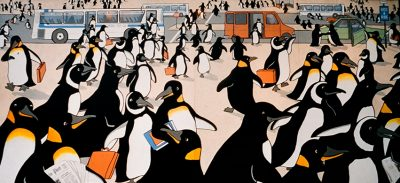 "Detail of the original ""Penguin Rush Hour"" by Sally Callmer Thompson."