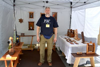 Woodworker Paul Hurwitz at a previous A-RTS at Rockville Town Square Fine Art Festival.