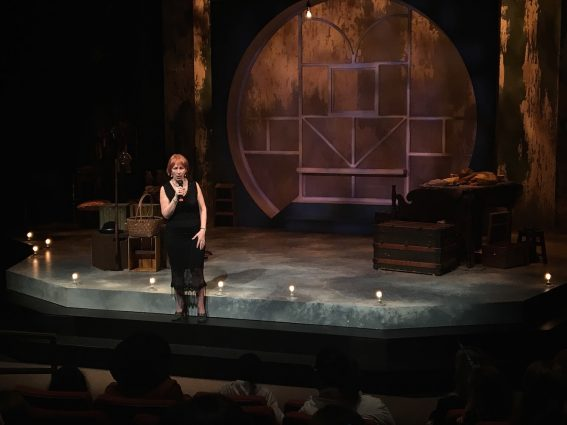 """Janet Stanford speaks to the audience at opening night of """"The Miraculous Journey of Edward Tulane."""""""
