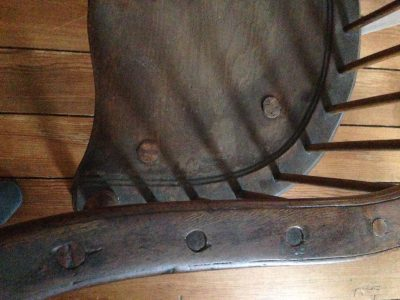 "Detail of a Windsor chair on exhibit in ""Inside Out/Upside Down: Furniture from a Different Perspective"" on view at the Beall-Dawson Museum."
