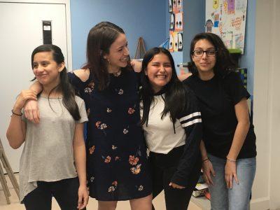Teacher Alessandra Mantovani with students Kim (left), Carolina and Gaby.