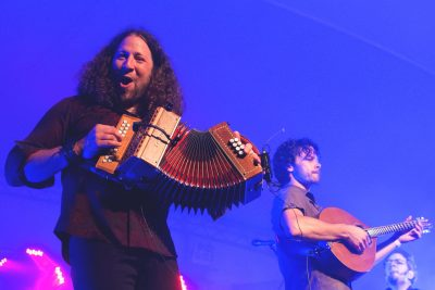 From left, Réjean Brunet plays button accordion and Simon Beaudry, guitar.