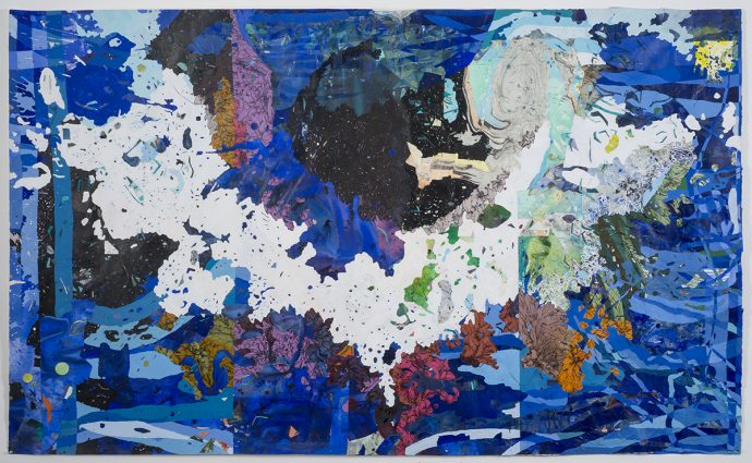 """Katherine Tzu-Lan Mann's """"Spaniel,"""" 50 by 90 inches, acrylic and sumi ink on collaged paper, among Mann's smaller works."""