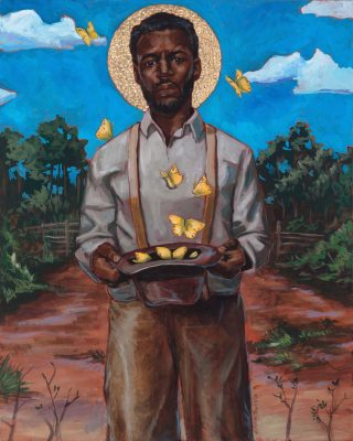 """Stephen Towns, """"God's Ways are Mysterious,"""" oil, gold leaf on canvas."""