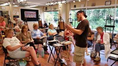 Easel Rider: Artist/instructor Glen Kessler gives a lecture at The Compass Atelier.