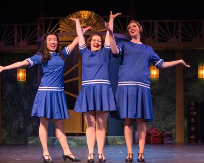 Three little maids from school: Evelyn Tsen (Yum-Yum), Amanda Jones (Pitti-Sing) and Teal Thompson (Peep-Bo)