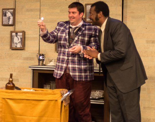 "Francis Henshall (Nathan Tatro) and Stanley Stubbers (Anderson Wells) in ""One Man, Two Guvnors."""