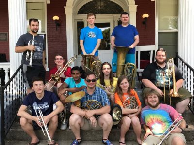 Powerhouse Brass played an impromptu concert with the Northern Kentucky University Bourbon Boys Quintet on the porch of their Stuart House dorm.