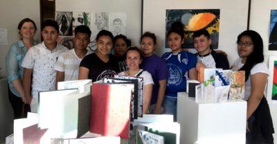 Sherwood ESOL teacher Aileen Coogan (left), Beatriz del Olmo-Fiddleman (center) and some Sherwood High School ESOL students.