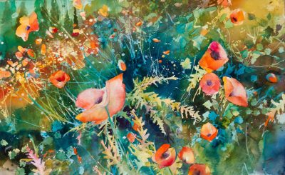 "David R. Daniels, ""Poppy Field,"" watercolor, 30 by 48 inches"