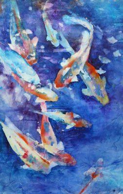 "David R. Daniels, ""Koi 360,"" watercolor, 50 by 33 inches"