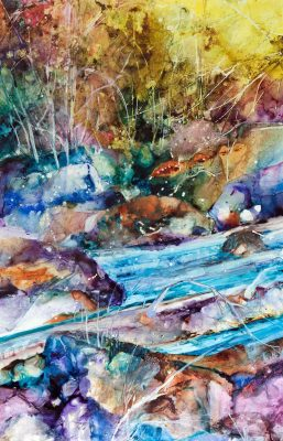 "David R. Daniels, ""Wide River,"" watercolor, 40 by 26 inches"