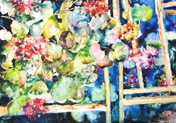 "David R. Daniels, ""Geranium,"" watercolor, 36 by 50 inches"