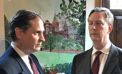 """From left, Max Halliday (Mark Steimer) and Tony Wendice (Ted Culler) face off in Sandy Spring Theatre Group's production of Fredrick Knott's """"Dial 'M' for Murder""""."""
