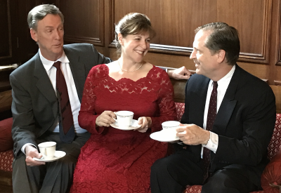 Margot Wendice (Tracy Husted) must decide between her husband Tony Wendice (Ted Culler), left, and her lover Max Halliday (Mark Steimer).