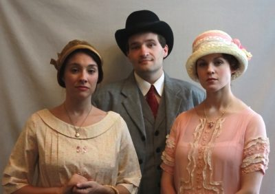 "Jennifer Osborn as Rosa, Timothy Ziese as Mr. Barsoty and Carolyn Kashner as Laura Lee Weems in Quotidian Theatre Company's ""Night Seasons."""