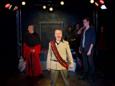 "John Burghardt (Cardinal), Seth Rosenke (King John) and Brendan McMahon (King Phillip) in ""King John"""