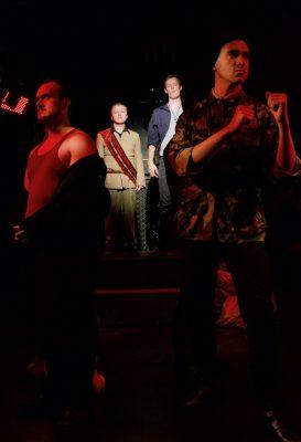 """Charlie Cook (Austria), Seth Rosenke (King John), Brendan McMahon (King Phillip) and Matt Meyers (Pembroke) in """"King John"""""""