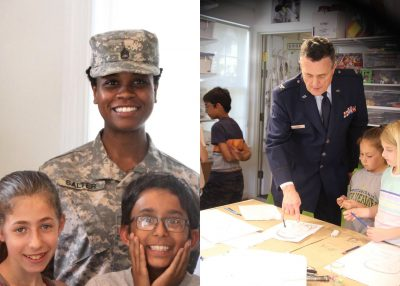 In keeping with the Fourth of July, week two of the Positive Energy Art Studio (PEAS) camp focused on all things American. Campers spoke to Staff Sergeant Chavon Lauren Salter and Air Force Colonel Regis Canny and created portraits of them.