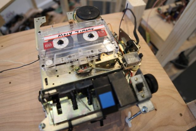 "Cassette tape, vintage boombox electronics and speakers and wood were all part of ""No Flats, No Sharps"" at D.C.'s Transformer gallery in 2016."