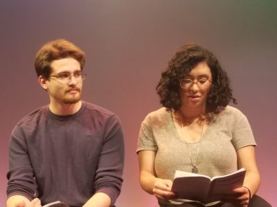 "Zach Raygor and Diana Gonzalez Ramirez during a ""Love/Sick"" rehearsal."