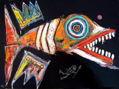 "Matt Sesow's ""Fish, with Diver,"" 2017, acrylic/oil on stretched canvas"