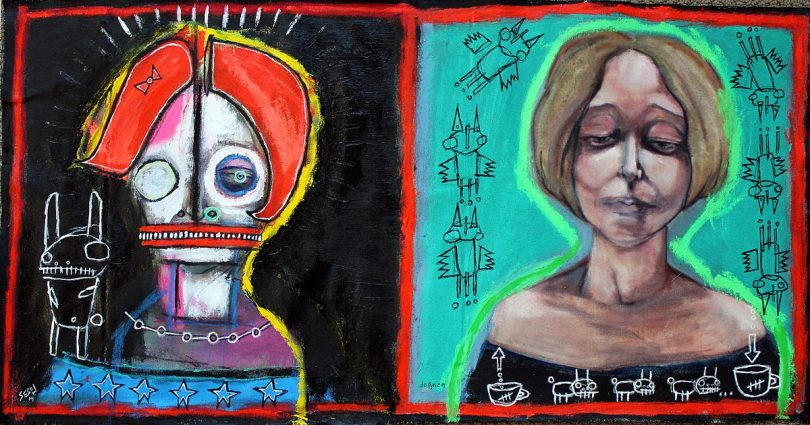 "Dana Ellyn and Matt Sesow's ""Two Sides of the Same Coin,"" 2013, oil/acrylic on canvas"