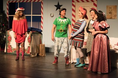 "A scene from UpCounty's ""Dashing Through the Snow"" (January 2017) features Jeffrey Smith and Kelly Peters (center)."
