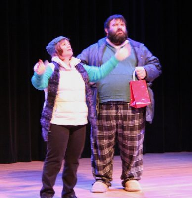 "Joni Donlon and Michael Abendeshein in a scene from UpCounty's ""Almost Maine"" (January 2014)."
