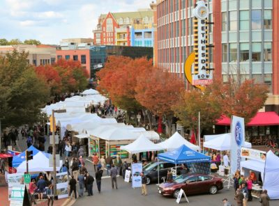 An aerial view of the annual Bethesda Row Arts Festival.