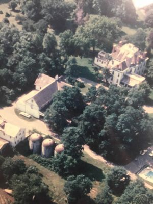Aerial View of the Arts Barn and Kentlands Mansion, circa 1988, when developer Joseph Alfandre bought the property that would become Kentlands and deed the Tschiffely-Kent buildings to the City.
