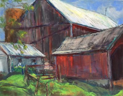 "Susan Pearcy, ""Barns and Sheds-Sycamore Hills,"" pastel"