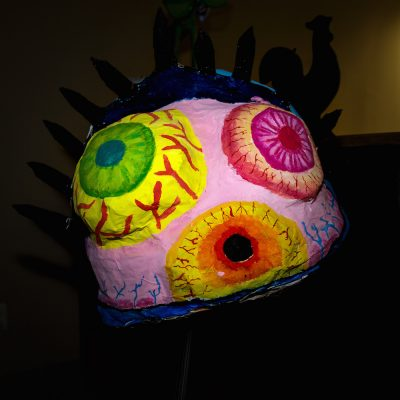 """The eyeball is one of a dozen created by Einstein High School visual arts students. """"They were intended by be worn by dancers, but turned out to be too heavy, so they will be a kind of float,"""" Dan Thompson explained."""