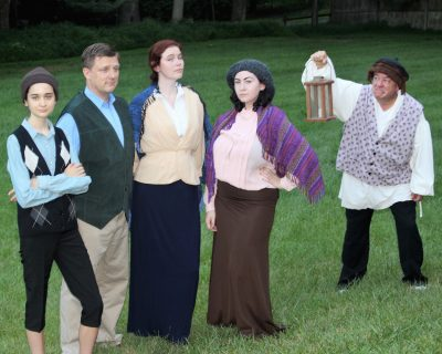 The Otis Family, from left, Victoria Sova as Chip, John Van Eck as Hiram, Amanda Wesley as Lucretia, Areya Campbell-Rosen as Virginia and Dino Coppa as the mansion's resident ghost.