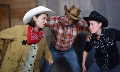 From left, Kelsey Yudice as Pufferfish Pat, Alex Miletich IV as Cookie and Elle Marie Sullivan as One-Eyed Jack.