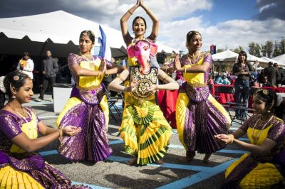 Indian dancers contribute to the international flair of the annual World of Montgomery Festival.