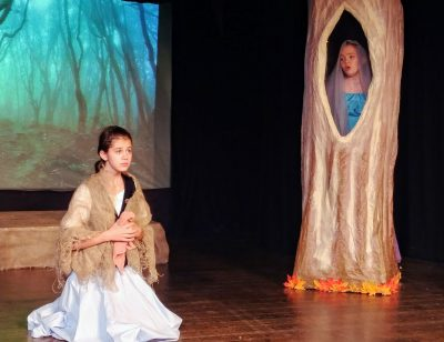 "From left, Kate Diuguid plays Cinderella and Maren Lewis, her mother, in KAT Second Stage's production of ""Into the Woods JR."""