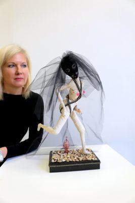 Natalie Korytnk Forrester gazes at her creation.