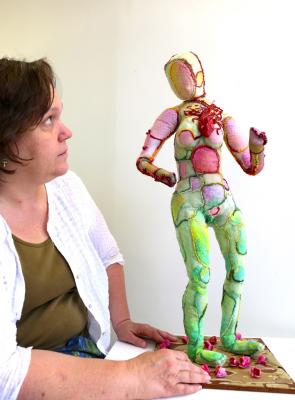 Patricia de Poel Wilberg considers her soft sculpture.