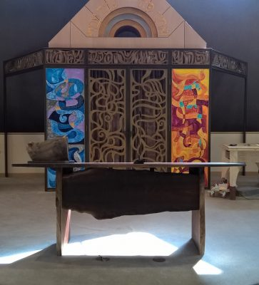 The reading table was installed at Temple Beth Ami in Rockville in time for the High Holy Days.